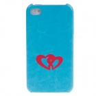 SAYOO 2374 Universal Love Series Protective PU leather Back Case for Iphone 4S - Light Blue