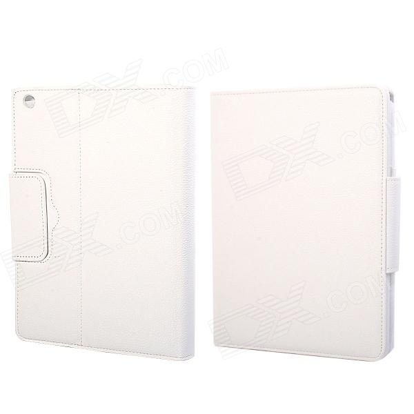 Wireless Bluetooth V3.0 64-Key Keyboard + Protective PU Leather Case for Ipad AIR - White
