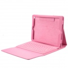 V2.0 Bluetooth Wireless 76-Key Keyboard w / PU cubierta de cuero del caso del soporte para el ipad AIR - Rosa