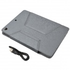 Bluetooth V3.0 64-Key Teclado w / Protective PU Leather Case Cover Stand para Ipad AIR - Cinza