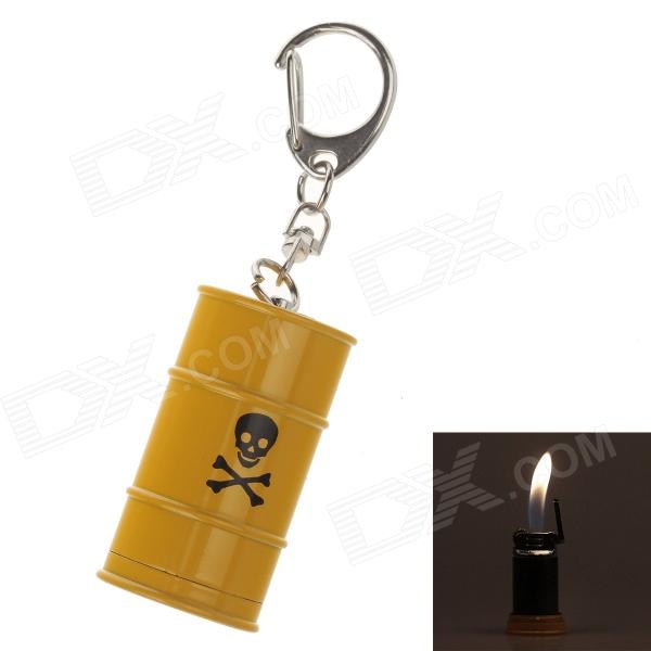 Creative Oil Tank Style Grinding Wheel Zinc Alloy Butane Gas Lighter w/ Keyring - Yellow creative screw style zinc alloy windproof butane gas lighter iron grey