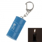 Creative Oil Tank Style Grinding Wheel Zinc Alloy Butane Gas Lighter w/ Keyring - Blue