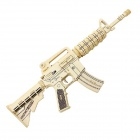 Robotime JZ403 Assembled Wooden Model Puzzle Pistol Model CS M4 Assault Rifle - Yellow