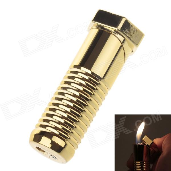 Creative Screw Style Zinc Alloy Windproof Butane Gas Lighter - Golden classic retro style windproof zinc alloy butane jet lighter golden