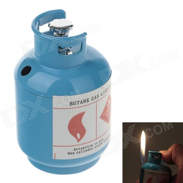 Creative Gas Cylinder Style Windproof Butane Gas Lighter - Blue creative gas tank style butane gas lighter green