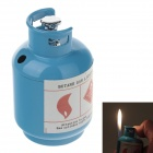 Creative Gas Cylinder Style Windproof Butane Gas Lighter - Blue
