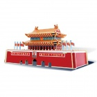 Robotime JZ601 Wooden Model Of The Word Famous Buildings Beijing Tiananmen Square - Red + Yellow