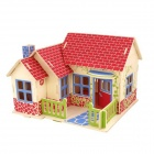 Robotime F302 DIY 3D Wooden Model Fight Inserted Toys Intelligence Cozy Cottage - Multicolored