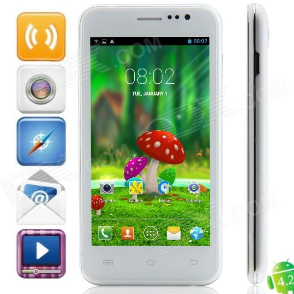 S10 MTK6572 Dual-Core Android 4.2.2 WCDMA Bar Phone w/ 4.5″ QHD, 4GB ROM, Wi-Fi, GPS – White