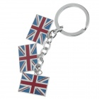 British Flag Style Zinc Alloy Keychain - Silver + Red + Blue + White