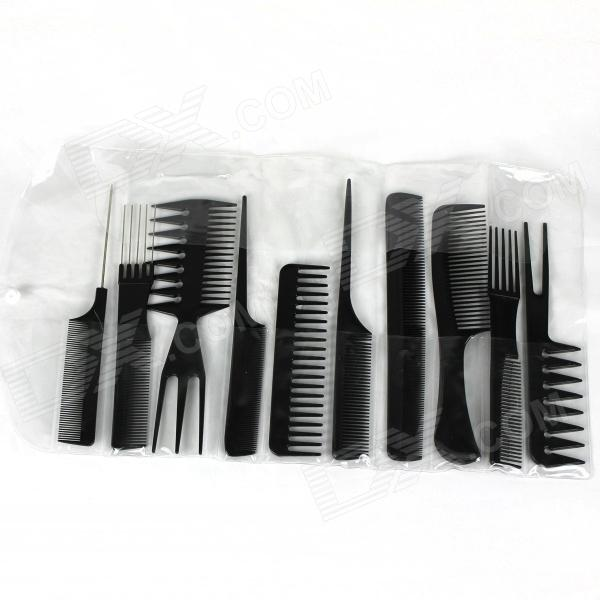 10-in-1 Professional Salon Combs Set - Black