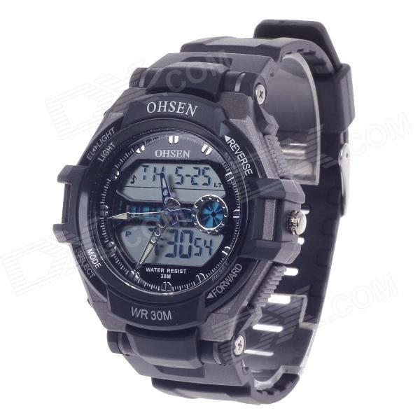 OHSEN AD1302 Men's Sport Analog + Digital Quartz Wrist Watch - Black (1 x CR-2025)