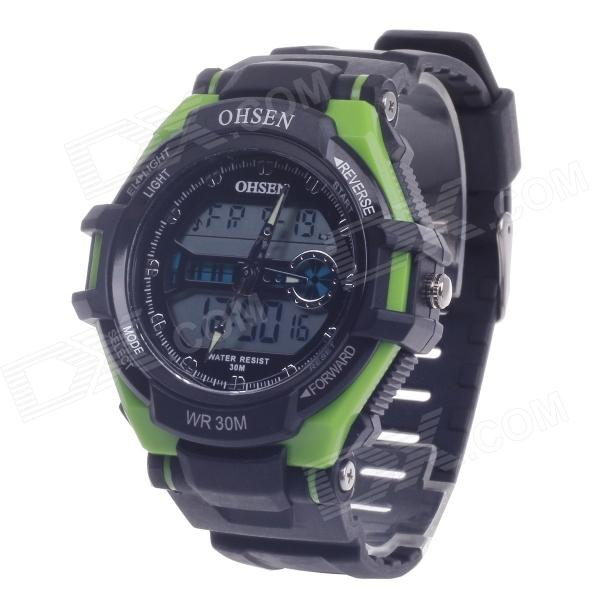 OHSEN AD1302 Men's Sport Analog + Digital Quartz Wrist Watch - Black + Green  (1 x CR-2025)