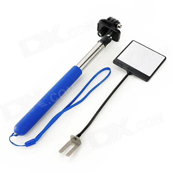 6-Fold Retractable Handheld Monopod w/ Strap / Mirror for Gopro Hero 4/ 1 / 2 / 3 / 3+ / SJ4000 - Blue three dimensional adjustable zinc alloy connector for gopro 3 3 2 golden