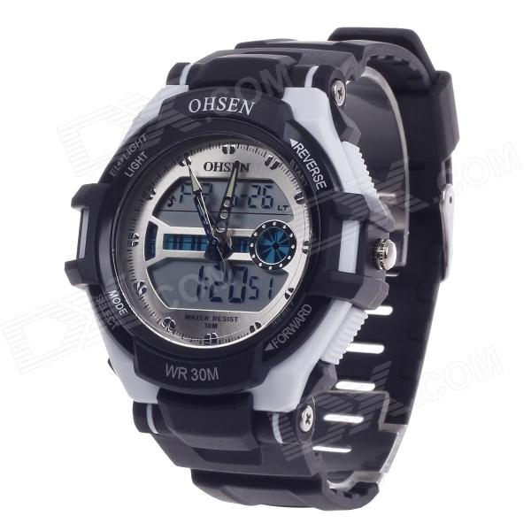 OHSEN AD1302 Men's Sport Analog + Digital Quartz Wrist Watch - Black + White (1 x CR-2025) аппараты для безналичного расч та