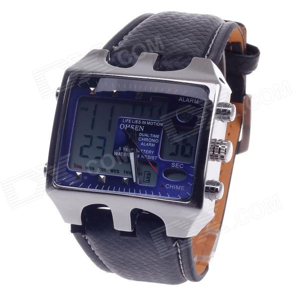 OHSEN AD0930 Men's Sport Analog + Digital Quartz Wrist Watch - Black + Deep Blue (1 x CR-2025)