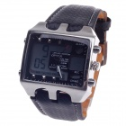 OHSEN AD0930 Men's Sport Analog + Digital Quartz Wrist Watch - Black + White (1 x CR-2025)