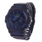 OHSEN AD1216 Fashion Multifunction Analog + Digital Display Waterproof Wrist Watch - Black+Deep Blue