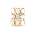 Korean Fashionable Lovely Simple Style Pearl Women's Ring - Golden