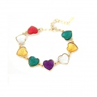 Fashionable Colorful Lovely Peach Hearts Necklace - Multicolored