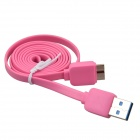 Flat Micro USB 9-Pin Male to USB 2.0 Male Data Sync / Charging Cable for Samsung Galaxy Note 3 -Pink