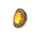 Dominate Rhinestone Ring - Yellow + Antique Copper