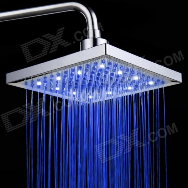 12 pulgadas ABS 12-LED Color RGB Cambiar Square Top Shower Head - Plata