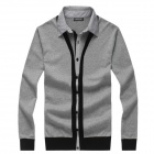 YH0710 Stylish Men's Shirt Collar Slim Sweater - Grey (Size-XXL)