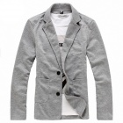 Men Knit Leisure Coat - Light Gray (XL)