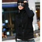 Thicken Cotton Blended Hoodie Sweater - Black