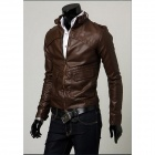 Slim Fit Kragen Jacke - Braun (XL)