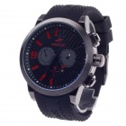 SPEATAK SP9042G Fashion Men's Rubber Band Quartz Wrist Watch w/ Date Display - Black + Red