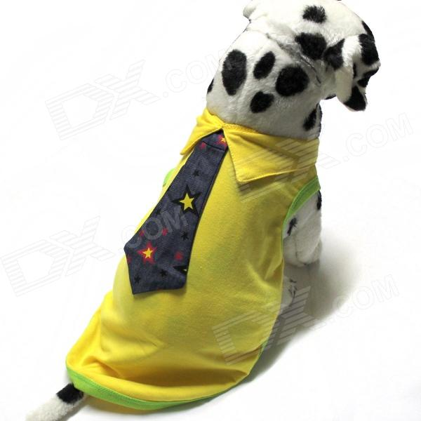 Tie Dress Style Pet Clothes - Yellow (Size-L)