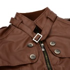 Men's PU Leather Jackets - Brown (XL)