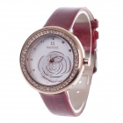 Daybird 3851 Fashionable Women's Quartz PU Leather Wrist Watch + Diamante Decoration - Red + Golden