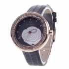 Daybird 3851 Fashionable Women's Quartz PU Leather Wrist Watch+ Diamante Decoration - Black + Golden