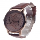 Daybird 3808 Fashionable Dual Time Zone Display Men's Quartz Wrist Watch - Brown