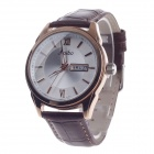 Haibo 6364 Fashionable Dual Calendar Display Men's Quartz Wrist Watch - Brown + Golden