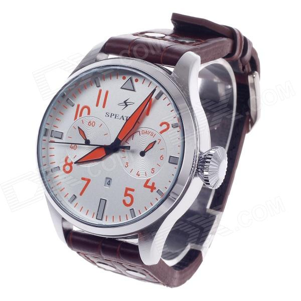 SPEATAK SP9005G Vouge Men's Head Layer Cowhide Band Quartz Wrist Watch w/ Date Display
