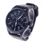 SPEATAK SP9005G Vouge Men's Head Layer Cowhide Band Quartz Wrist Watch w/ Date Display - Black
