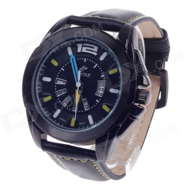 SPEATAK SP9021G Vouge Men's Head Layer Cowhide Band Quartz Wrist Watch w/ Date Display