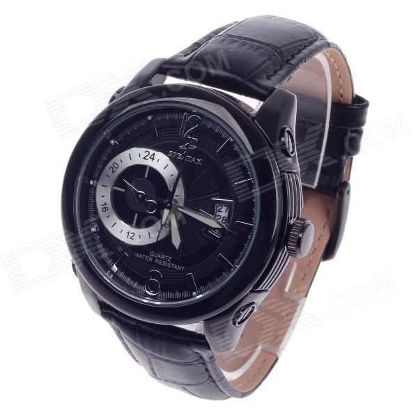 SPEATAK SP9029G Vouge Men's Head Layer Cowhide Band Quartz Wrist Watch w/ Date Display - Black кольцо коюз топаз кольцо т947017322 01
