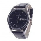 Haibo 6364 Fashionable Dual Calendar Display Men's Quartz Wrist Watch - Black + Silver