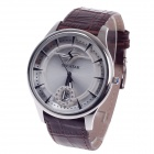 SP9028G Rhinestone Decoration Men's Head Layer Cowhide Band Quartz Wrist Watch w/ Date Display