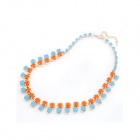 Characteristic of Court Double Layer Bling Rhineston Necklace - Blue + Orange