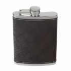 4918 Outdoor Stainless Steel + Stone PU Leather Hip Flask - Silver + Brown (8 Ounce)