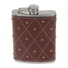 4889 Outdoor Stainless Steel + PU Leather Hip Flask - Silver + Brown (8 Ounce)