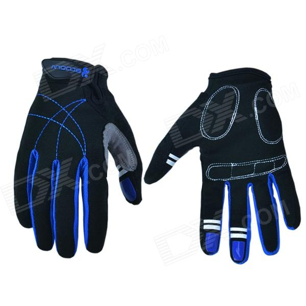 Outdoor Sports Cycling Full-Finger Spandex Gloves - Black + Deep Blue (Pair / Size-XL) набор sylvanian families полосатые котята двойняшки