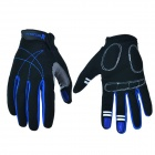 Outdoor Sports Cycling Full-Finger Spandex Gloves - Black + Deep Blue (Pair / Size-XL)