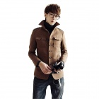Men's Fashion Stand-Up Collar Woolen Jacket - Brown (Size-L)